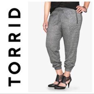 TORRID Gray tie waist Jogger pant zip pocket cuff